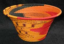 Medium African Zulu Telephone Wire Basket/Bowl - Halloween Party
