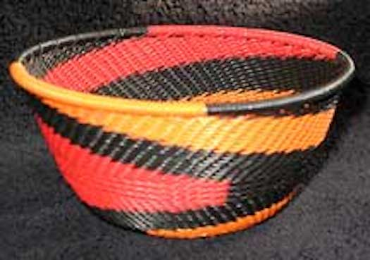 Small African Zulu Telephone Wire Basket/Bowl - FireBird