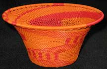 Medium African Zulu Telephone Wire Basket/Bowl - Orange Juice