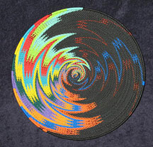 Large African Zulu Telephone Wire Basket/Platter - Rainbow/Black Fireworks