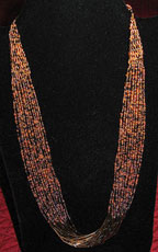 "Handmade African Zulu Bead Necklace 26"" - Autumn Splendor"