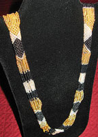 "Handmade African Zulu Bead Necklace 40"" - Golds, Silver & Black"