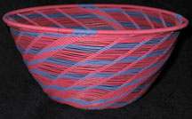 Open Weave African Zulu Telephone Wire Bowl - Pink/Purple