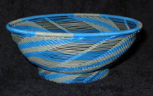 Open Weave African Zulu Telephone Wire Bowl - Blue/Grey
