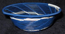 Open Weave African Zulu Telephone Wire Bowl - Blue/White