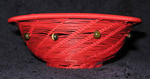 Open Weave African Zulu Telephone Wire Bowl - Red with Beads