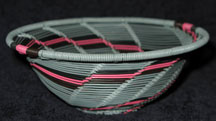 Open Weave African Zulu Telephone Wire Bowl - Grey/Pink/Black