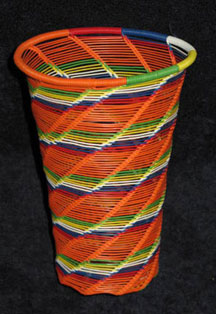 Open Weave African Zulu Telephone Wire Cup/Vase - Orange Multi