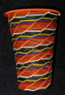 Open Weave African Zulu Telephone Wire Cup/Vase - Orange Multi #2