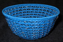 Handmade African Zulu Telephone Wire Bowl with Beads - Blue
