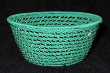 Handmade African Zulu Telephone Wire Basket with Beads - Green