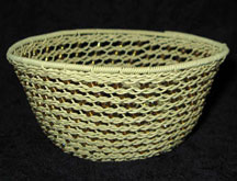Handmade African Zulu Telephone Wire Basket with Beads - Tan