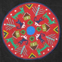 African Zulu Telephone Wire Plate/Basket - Blue Cats