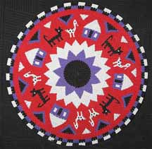 African Zulu Telephone Wire Plate/Basket - Cats and Birds