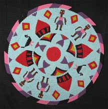 African Zulu Telephone Wire Plate/Basket - Women and Huts