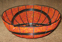 Handmade Modern South African Bead and Wire Bowl - Orange & Red