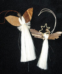 Set of Two Handmade Banana Fiber & Sisal Angel Ornaments