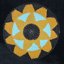 Small African Zulu Telephone Wire Basket/Plate - Sunflower