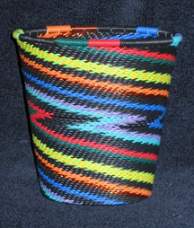 African Zulu Telephone Wire Basket/Cup/Vase - Electric Rainbow