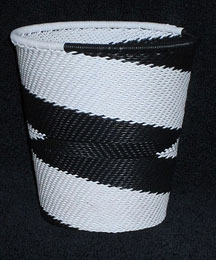 African Zulu Telephone Wire Basket/Cup/Vase - White Bird