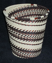 African Zulu Telephone Wire Basket/Cup/Vase - Wheat Field