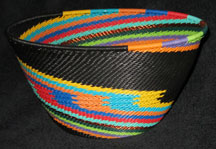 Large Deep Africa Zulu Telephone Wire Basket/Bowl - Black Rainbow Knit