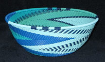 Medium African Zulu Telephone Wire Basket/Bowl - Ocean Waves