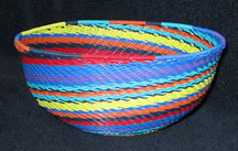 Medium African Zulu Telephone Wire Basket/Bowl - Fabulous Spiral