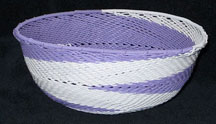 Medium African Zulu Telephone Wire Basket/Bowl - Purple Swirl