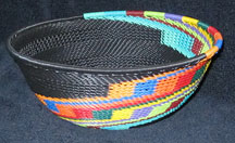 Medium African Zulu Telephone Wire Basket/Bowl - Black Knit