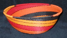 Medium African Zulu Telephone Wire Basket/Bowl - Trick or Treat
