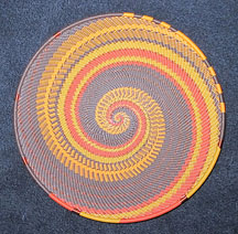 Medium African Zulu Telephone Wire Basket/Plate - Autumn Leaves