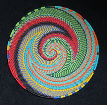 Medium African Zulu Telephone Wire Basket/Plate - Colorful Fantasy