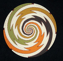 Medium African Zulu Telephone Wire Basket/Plate - Rolling Zig-Zags