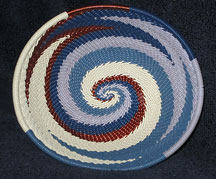 OVAL African Zulu Telephone Wire Basket/Bowl - Blue Cream