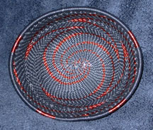 OVAL African Zulu Telephone Wire Basket/Bowl - Black Copper
