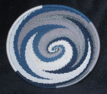 OVAL African Zulu Telephone Wire Basket/Bowl - Frosty Blues