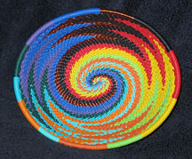 OVAL African Zulu Telephone Wire Basket/Bowl - Bright Zig-Zag