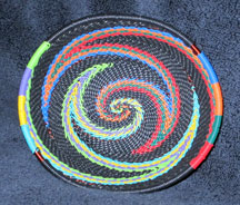 OVAL African Zulu Telephone Wire Basket/Bowl - Black Rainbow Swirl