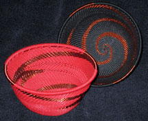 African Zulu Telephone Wire Baskets - Coordinating 2 Bowl Set - Red & Black Copper