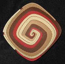 Square African Zulu Telephone Wire Basket/Bowl - Warm Sand