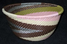 Small African Zulu Telephone Wire Basket/Bowl - Cherry Blossom