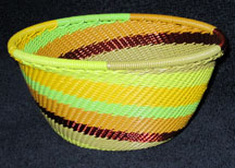 Small African Zulu Telephone Wire Basket/Bowl - Sunflower