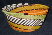 Small African Zulu Telephone Wire Basket/Bowl - Fabric Print