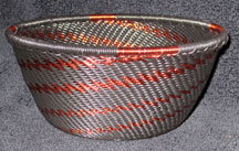 Small African Zulu Telephone Wire Basket/Bowl - Black Copper