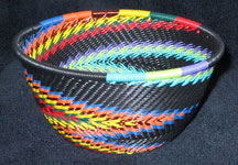 Small African Zulu Telephone Wire Basket/Bowl - Dancing Zig-Zag