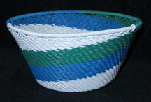 Small African Zulu Telephone Wire Basket/Bowl - Sea Breeze