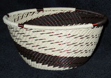 Small African Zulu Telephone Wire Basket Bowl - Beach