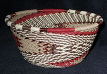 Small African Zulu Telephone Wire Basket Bowl - Wild Turkey