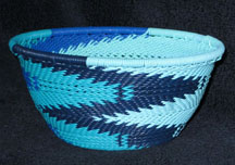 Small African Zulu Telephone Wire Basket Bowl - Blue Seas